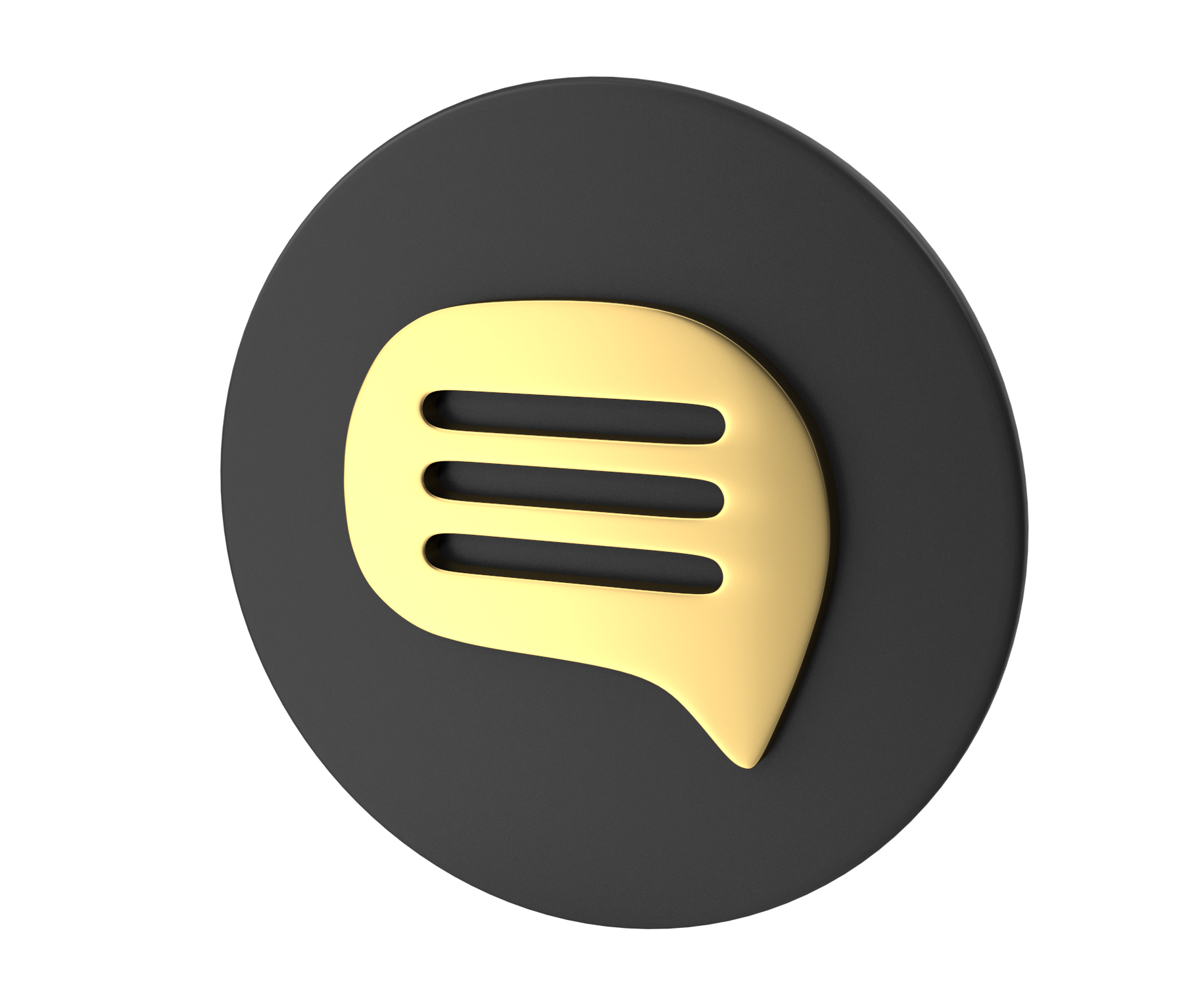 Golden Speech Bubble Icon on Grey Disc